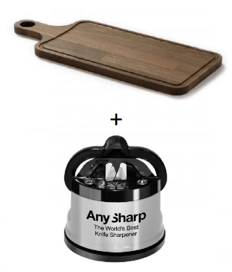 Denwood bæredygtig serveringsbræt med saftrille 48x20x2cm + A-Sharper knivsliber