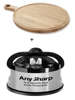 Denwood bæredygtigt rundt serveringsfad med saftrille 40x2 cm + A-Sharp knivsliber