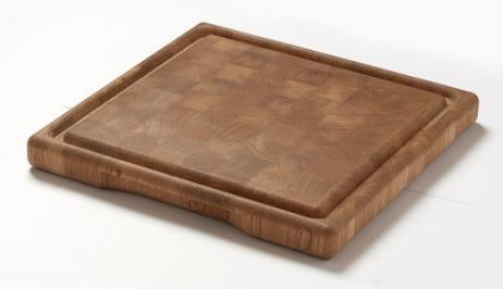 Denwood - skærebræt af endetræ i eg - 40x40x4 cm.