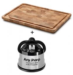 Denwood skærebræt i eg 40x40x4 cm + A-Sharp knivsliber