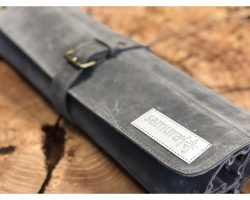 Knivrulle t/ 7 knive - læder, SCR-004, LYS GRÅ