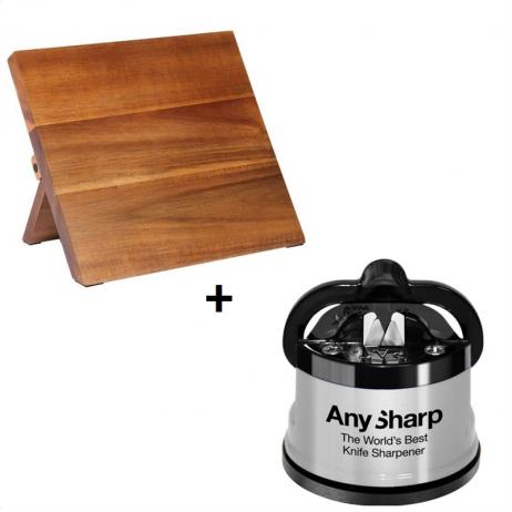 Mercer Magnetisk knivbræt – akacia træ - inkl. A-Sharp