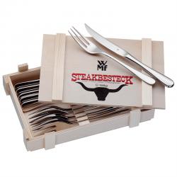 WMF Steakbestik/grillbestik blank stål, 6 sæt kniv og gaffel i trææske