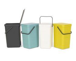 Affaldsspand m/ Låg fra Brabantia - 16 Liter Grå inkl. vægbeslag