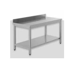 Billigt 100% rustfrit Stålbord med underhylde og bagkant samt træindlæg - MANGE STØRRELSER