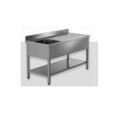 Billigt 100% rustfrit stålbord med underhylde og vask i venstre side - MANGE STØRRELSER