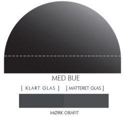 Buet stænkpanel i jernfrit glas - Mørk grafit - Flere størrelser