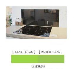 Firkantet stænkpanel i jernfrit glas  - Limegrøn- Flere størrelser