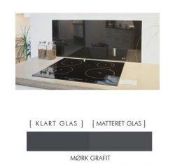 Firkantet stænkpanel i jernfrit glas  - Mørk grafit - Flere størrelser