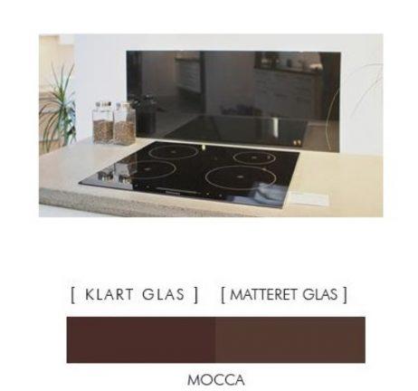 Firkantet stænkpanel i jernfrit glas  - Mocca - Flere størrelser