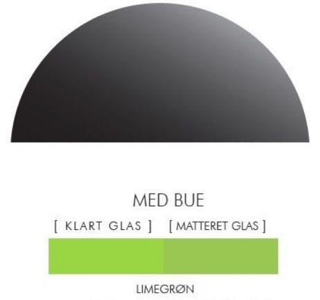 Halvcirkel stænkpanel i jernfrit glas  - Limegrøn -Flere størrelser