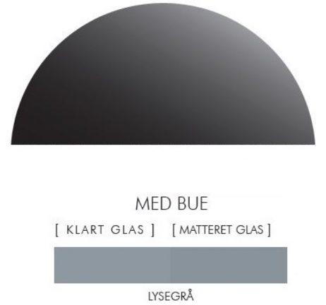 Halvcirkel stænkpanel i jernfrit glas  - Lysegrå -Flere størrelser