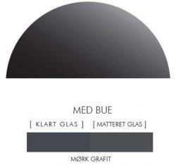 Halvcirkel stænkpanel i jernfrit glas  - Mørk grafit -Flere størrelser