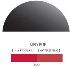 Halvcirkel stænkpanel i jernfrit glas  - Rød -Flere størrelser
