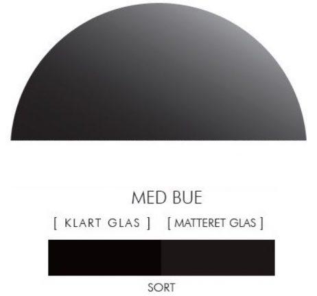 Halvcirkel stænkpanel i jernfrit glas  - Sort -Flere størrelser