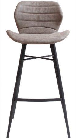 Odin barstol fra House of Sander -  Grå PU, Sorte ben