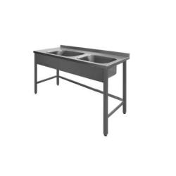 Stålbord med 2 vaske, PSR2, 700 mm dyb i mange længder