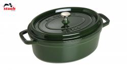 Staub Cocotte støbejern grøn 29 cm oval