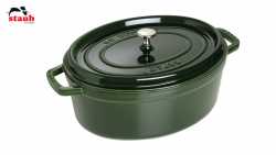 Staub Cocotte støbejern grøn 31 cm oval.