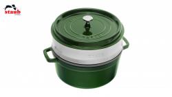 Staub Cocotte støbejern grøn med dampindsats 26 cm