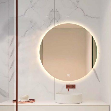 Premium rundt badeværelses spejl med LED, Antidug. Touchsensor, Bluetooth højtaler, ur og makeupp