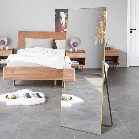 Premium spejl med guld aluramme - Kan stå frit 70x170 cm