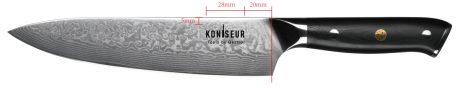 Kokkekniv 20 cm. 67 lag Damascus stål - KONISEUR - Tools By Gastro