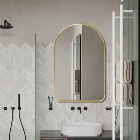 Premium spejl Lea  med Guld  alu ramme - Flere størrelser