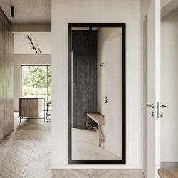 Premium spejl med sort ramme - 80x180 cm