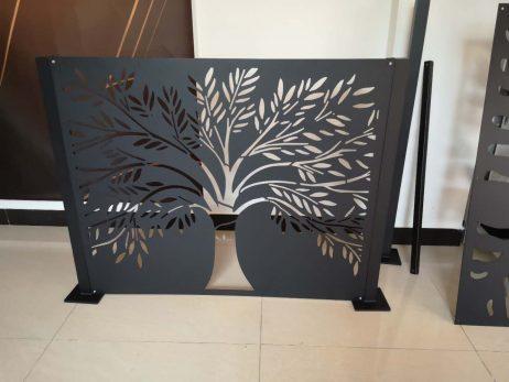 Skillevæg i sort pulverlarkering stål - Træ 100 h x 120 b cm (udenfod)