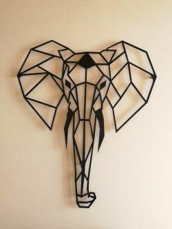 Elefant dekorativ i sort pulverlarkeret stål
