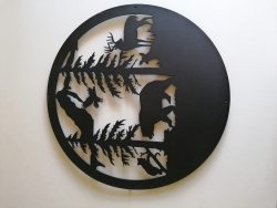 Skovens dyr i sort pulverlarkert Ø 50 cm
